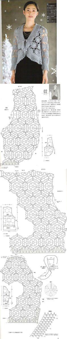 Chorrilho de ideias: Bolero em crochet com esquema