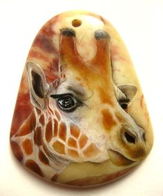 Handpainted stone, rocks, A giraffe is on a jasper (Reserved for Jacqueline)