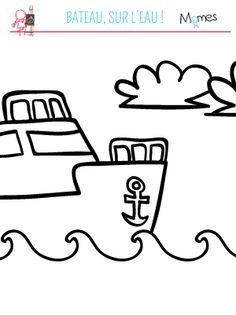 coloriage bateau sur l'eau