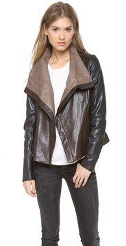Vince Colorblock Leather Jacket on shopstyle.com