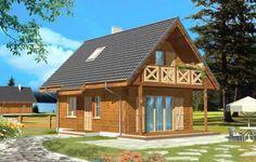 Projekt Sosenka Drewniana to mały zgrabny domek. Może pełnić funkcję letniskowego, ale również całorocznego domu. Jego zaletami są właściwe proporcje nadające estetyczny wygląd budynku, funkcjonalne wnętrze oraz prosta, tania w budowie konstrukcja.