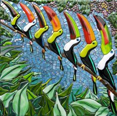 A Durante of Toucans Mosaic Art, Fused Glass, Glass Art, Neon Signs, Birds, Bird, Glass Craft, Mosaics, Stained Glass