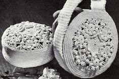 Hat and Bag Set crochet pattern originally published by Coats & Clark, Book 141, in 1963.