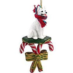 GERMAN SHEPHERD Dog White CANDY CANE Christmas Ornament DCC08C by Eyedeal Figurines White Christmas Ornaments, Dog Ornaments, Hanging Ornaments, Christmas Animals, Christmas Dog, Candy Cane Ornament, Pet Memorial Gifts, Miniature Dogs, Samoyed