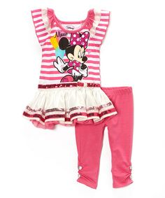 Another great find on #zulily! Pink Stripe Ruffle Minnie Dress & Leggings - Toddler #zulilyfinds