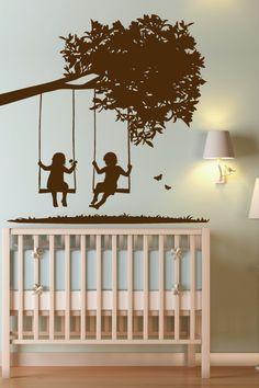 Kids on Swings Wall Decal by WALLTAT.com