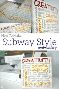 Learn how to design subway style embroidery with the built in fonts on your Destiny II sewing machine. Video shows how to add words and adjust step by step. Best Embroidery Machine, Machine Embroidery Projects, Learn Embroidery, Embroidery Kits, Babylock Embroidery Machine, Embroidery Tattoo, Embroidery Stitches, Destiny Ii, Sewing Stitches By Hand