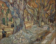 The large plane trees(road menders at Saint-Remy) 1889- Vincent Van Gogh-Dutch 1853-1890