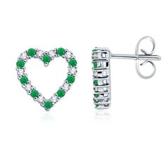 Round Emerald and Diamond Heart Earrings in White Gold 14K. A truly beautiful combination. Emeralds alternate with round brilliant diamonds in an arresting heart design
