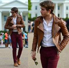 Burgundy pants and leather jacket
