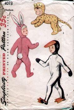 Simplicity 4073 Vintage 1950's Child Bunny Duck Cat Costume Pattern Sz6-8