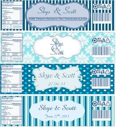 adorable favor idea / something to have at a party....  Water bottle labels, now with templates! :  wedding water bottle labels blue navy diy Waterlabels
