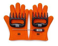Awesome heavy duty! BBQ Gloves, Meat Claws and Digital Instant Read BBQ Thermometer (3 pc set) - Heat Resistant/Silicone Gloves - BBQ Grilling.