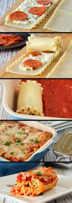 Pepperoni Pizza Lasagna Rolls Recipe - Husband would love this! His 2 favorite foods combined! :D Pepperoni Pizza Lasagna Rolls Recipe - Husband would love this! His 2 favorite foods combined! :D 8 2 Meredith King yummmmm. I Love Food, Good Food, Yummy Food, Tasty, Food Change, Lasagna Rolls Recipe, Recipe Pasta, Ravioli, Food For Thought