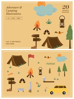 Adventure & Camping Illustration Set **WHAT YOU'LL GET** - 20 Adventure & Camping Illustration Set in vector .AI format - All elements in .PSD Photoshop format - High resolutio... https://creativemarket.com/MeeraG/339829-Adventure-Camping-Illustration-Set