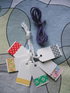 6 washi tape gift tags & purple gift wrapping string | eBay