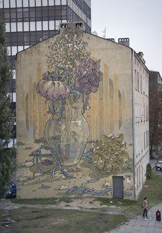 """Requiem"" by Spanish artist Aryz #graffitiart #urbanart #urbanartists #streetart #aryz"