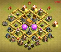 With Attacks. Best Town Hall 5 Farming, War and Hybrid Bases Anti Everything These Layouts are good at defending giants, Archers and barbarians. Clash Of Clans Th4, Town Hall 4, Trophy Base, Th 5, Mundo Geek, Aesthetic Images, Tv Commercials, Geek Stuff, Farming
