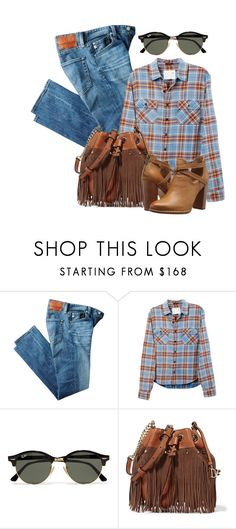 """Untitled #1578"" by linda-olson ❤ liked on Polyvore featuring AG Adriano Goldschmied, R13, Ray-Ban, Diane Von Furstenberg and Frye"
