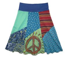 Peace Sign Boho Chic Hippie Skirt Women XS Small or by twinklewear, $50.00