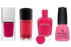 Shocking Pinks Barbie would be all over these polishes. FUCHSIA IRRÉSISTIBLE 05, $20, GIVENCHY, MY.LUCKYMAG.COM; ABLAZE, $16, MACCOSMETICS.COM; YANA, $8, ZOYA.COM; NEON & ON & ON, $7.50, CHINA GLAZE, ULTA.COM