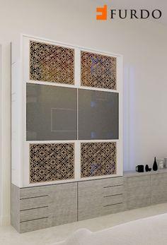 Divine white Puja Cabinet/Mandir by Furdo Interior Designing, Home Interior Design, Temple Room, Crockery Cabinet, Pooja Mandir, Pooja Room Door Design, Puja Room, Prayer Room, Wardrobe Design