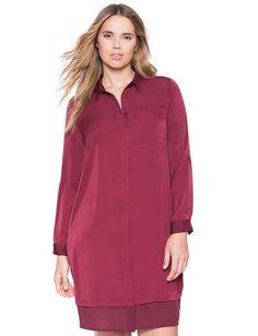 Mixed Media Shirt Dress from eloquii.com