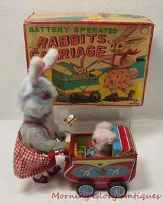 Vintage Tin Japan Rabbits & Carriage Battery Operated Toy
