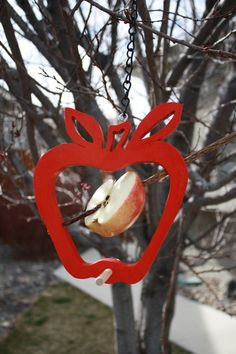 Apple Shaped Hanging Bird Feeder