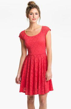 Soprano Lace Skater Dress (Juniors)   Nordstrom, crimson, medium, $48.00