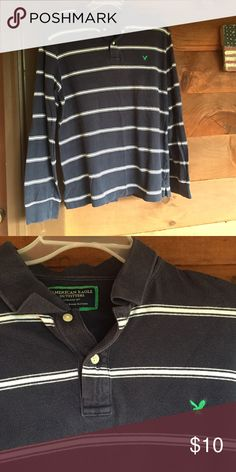 American Eagle long sleeve EUC.  Navy with white stripes.  Two button collar. American Eagle Outfitters Shirts Tees - Long Sleeve