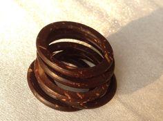 FREE SHIPPING !!!!   Organic Coconut Wood Ring Handmade Vintage Javanese Friendship Ring Rustik Outdoorsy Jewellery