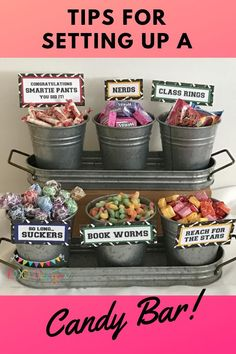 Are you wanting to have a candy bar at your next special occasion, but not sure what you'll need for it? Want to know how much candy to buy and where to buy it from? Candy bars are great to display piece at your party and it doubles as the favors for your Graduation Party Centerpieces, Graduation Party Planning, Graduation Party Themes, College Graduation Parties, Grad Parties, Graduation Ideas, Graduation Gifts, Graduation Decorations, Grad Party Favors