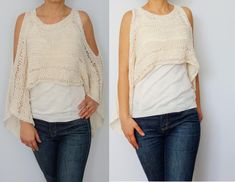 Open Shoulder Cropped Sweater Knitting pattern by CamexiaDesigns