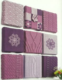 'Off the Wall' knitted wall art- This gives me an idea to use different types of sweaters on it if you don't know any needlework craft or even from quilts would be nice