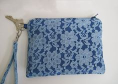 Satin Lace Wristlet Blue Lace Over Satin  7 x 5 by sibstudiosewing