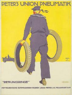 PETER'S UNION PNEUMATIK Ludwig HOHLWEIN - Circa 1913 Affiche allemande entoilée…