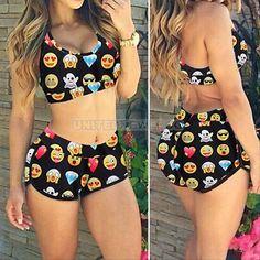hot Emoji Sexy Women Bandage Bikini Set Swimsuit Swimwear Bathing Suit Beachwear #Unbranded #Bikini