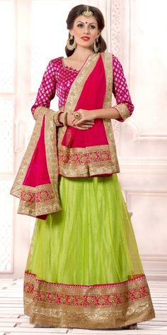 Royal Green And Pink Net Lehenga Choli With Dupatta.