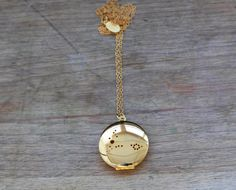 Gold Plated Aquarius Locket Necklace by JulieNolanJewelry on Etsy
