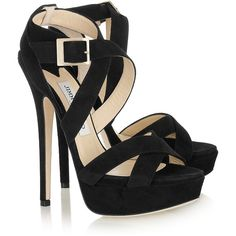 Jimmy Choo Louisa suede platform sandals ($195) ❤ liked on Polyvore featuring shoes, sandals, heels, zapatos, sapatos, platform heel sandals, strappy high heel sandals, strap sandals, high heeled footwear and black sandals