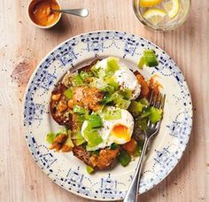 Thomasina Miers' poached eggs with melted leeks and chipotle-tahini dressing.  put the tahini, garlic and half the lemon juice in a small bowl with the chipotle, and beat with a fork until smooth. Stir in the yoghurt, taste and season; add more lemon juice if it needs brightening.