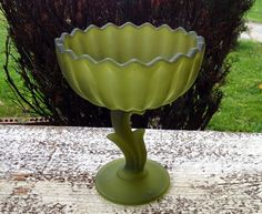 Vintage Frosted Green Compote Dish