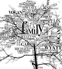Family Name Tree ~ Make your leaves from family surnames and first names for an opening page...what a cool idea!