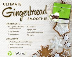 We can't help but share this delicious Gingerbread Smoothie recipe, just in time for Christmas! #Healthy # UltimateProfit  Follow me www.Facebook.com/CrazyWrapBiz www.CrazyWrapBiz.com