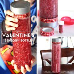 Valentines Sensory Bottle Glitter Glue Calm Down Jar Valentine Sensory, Valentine Crafts For Kids, Valentines Day Activities, Valentine Gifts, Calm Down Jar, Calm Down Bottle, Glitter Sensory Bottles, Glitter Bottles, Sensory Bottles For Toddlers