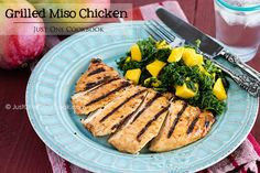 Grilled Miso Chicken  | Soft and juicy grilled chicken breast marinated in a ginger miso sauce.