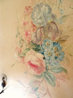 Antique decorative wardrobe handpainted roses and floral sprays