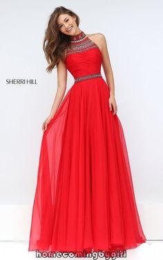 Sexy Open Back Sherri Hill 50182 Beaded Red Sale Prom Dress