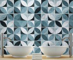Mid Century Modern Tile Decal (16 Tiles Decals) Tile Stickers - Kitchen Backsplash Tiles - Bathroom Tile Decals by Moon WallStickers